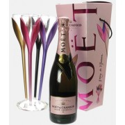 Set Moet Rose Flower Sampanie Moet Chandon Imperial Rose