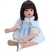 Reborn Baby Doll Realistic Handmade Lifelike Silicone Vinyl Girl Babies Dolls 20 Inch 50 Cm Lifelike Kids Toy Children Birthday Gift Pink Princess Dress