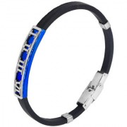 Sullery Vintage Biker Roman Numbers Wristb With Stainless Steel Foldover Clasp Black & Blue Silicon Bracelet