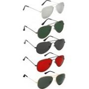 David Martin Aviator Sunglasses(Silver, Green, Black, Red, Green)