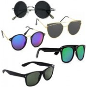 Elligator Aviator, Round, Wayfarer Sunglasses(Black, Blue, Green)