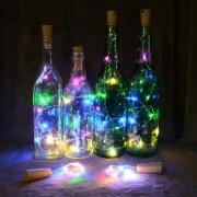 Napelemes LED borosüveg dugó világítás színes