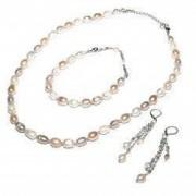 Set bijuterii GANELLI- colier bratara cercei din Perle naturale de cultura