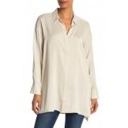 Eileen Fisher Long Classic Collar Silk Shirt BONE
