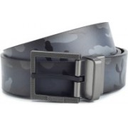 Kenneth Cole Men Black, Grey Artificial Leather, Genuine Leather, Metal Reversible Belt