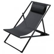 Maisons du monde Tumbona/silla de playa plegable de metal antracita Split