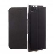 Honju DarkBook Folio Case - кожен калъф с поставка и отделение за кр. карта за Blackberry KEYone (черен)