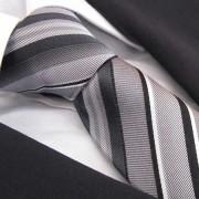 Distino Of Melbourne Strisce Grigio Seven Fold Silk Necktie SF23