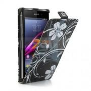 Sony Xperia Z1 Compact White Flower Flip Калъф + Протектор