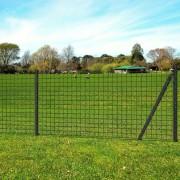 vidaXL Euro Fence Set with Ground Spikes 10x1.7 m Steel Grey