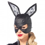 Leg Avenue Masque de lapin en simili cuir - Noir