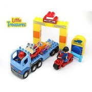 Construction Zone 42 Piece Brick Play Series Set Includes Flat Bed Truck and Is Interchangeable with Duplo Parts and tig