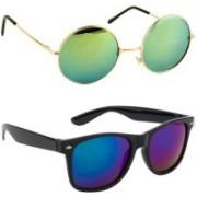 SRPM Round, Wayfarer Sunglasses(Green, Blue)