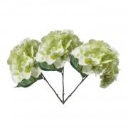 Bellatio flowers & plants 3x Wit/Groene Hortensia kunstbloemen tak 28 cm