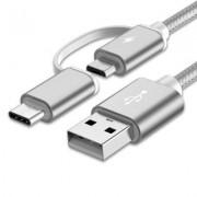 USB Kabel 2 i 1 för Micro USB och Type-C Nylon Flätad - Silver