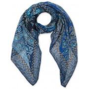 Etro Printed Linen/Silk Scarf Blue