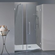 Porta doccia con fisso in linea Simona da 90 cm in cristallo 8 mm Sabbiato Lampi DX