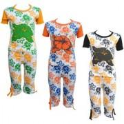 Eazy Trendz Baby Girls Mindblowing Floral Printed Half Sleeve Top Bottom Tshirt and Capri Super Set of 3