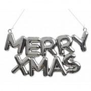 Decoris Zilveren raamdecoratie hanger Merry Xmas 20 cm