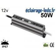 Transformateur Led 12v DC 50 Watts IP67 ref te12-50