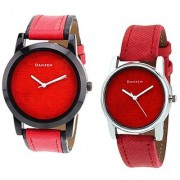 Danzen Analog Leather Watches for Lovely Couple -dz-417-425