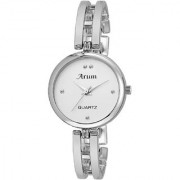 Arum New Collection White Round Shaped Dial Metal Strap Fashion Wrist Watch for Women's and Girl's ASWW-008