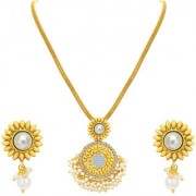 Sukkhi Blossomy Invisible Setting Gold Plated American Diamond Pendant Set For Women