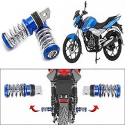 STAR SHINE Coil Spring Style Bike Foot Pegs / Foot Rest Set Of 2- blue For Hero MotoCorp PASSION+
