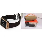 Zemini DZ09 Smart Watch and Mini Xtreme K5 + Bluetooth Speaker for LG OPTIMUS L3 II DUAL(DZ09 Smart Watch With 4G Sim Card Memory Card| Mini Xtreme K5 + Bluetooth Speaker)