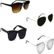 Sulit Aviator, Rectangular, Wayfarer Sunglasses(Brown, Black, Black, Silver)