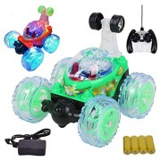 MousePotato Original 360 degrees Front Axle Spinning Big Wheels Stunt Car with Lights & Music (GREEN)