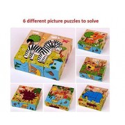 Mayatra's Early Age 6 in 1 Wood Block Puzzles for small Kids. (Wild Animals/Zoo Animals theme)