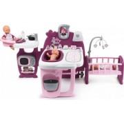 Centru de ingrijire pentru papusi Smoby Baby Nurse Dolls Play Center mov cu 23 accesorii
