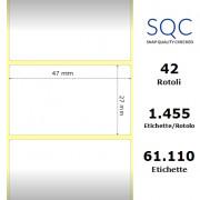 Etichette SQC - Carta termica protetta (bobina), formato 47 x 27