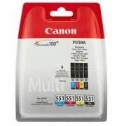 Комплект мастилени касети Canon CLI-551 CMYB Multipack, 6509B009