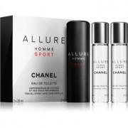 Chanel Allure Homme Sport Eau de Toilette (1x vap.recarregável + 2 x recarga) para homens 3 x 20 ml