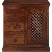 VINTEJ Smart and Stylish Sheesham Solid Wood Cabinet with 3 Drawers in Standard Size Weight (Brown)