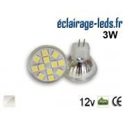 Ampoule led MR11 12 led SMD 5050 blanc naturel 12v