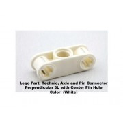 Lego Parts: Technic Axle and Pin Connector Perpendicular 3L with Center Pin Hole (White)