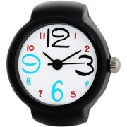 New Exclusive collection White Dial Black Metal Starp Analog Finger Ring Watch For Women