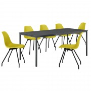 PremiumXL - [en.casa] Dizajn blagovaonski set - stol (tamno sivi,180x80cm) - sa 6 stolica (senf žute)