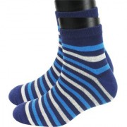 Neska Moda Men 1 Pair Dark Blue and White Ankle Length Socks ON39