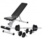 vidaXL Banco musculação c/ conjunto de barras e halteres 60,5 kg