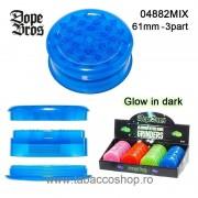 Grinder din plastic Dope Bros fosforescent 61mm din 3 parti