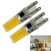 G9 7W COB LED bombilla lampara blanca caliente 3000K 1000lm - amarillo + plata (AC 220V / 2PCS)