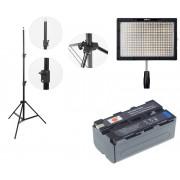Kit lumina continua Lampa Yongnuo YN600S+ 2x Acumulatori Dste NP F+ incarcator+ stativ