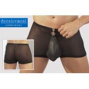 Svenjoyment Sheer Leather Pouch Swell Boxer Brief Underwear Black 0290327