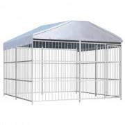 vidaXL Външна клетка за кучета с покрив, 300x300x200 см