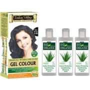 Indus Valley Organically Natural Permanent Hair Colour Gel Dark Brown 3.00 And CP Shampoo Set Of 4