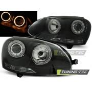 Přední světla, lampy Angel Eyes VW Golf V 03-08 černá H7